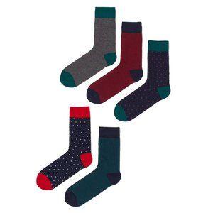 H&M mens dress socks 5 pack polka dot stripes